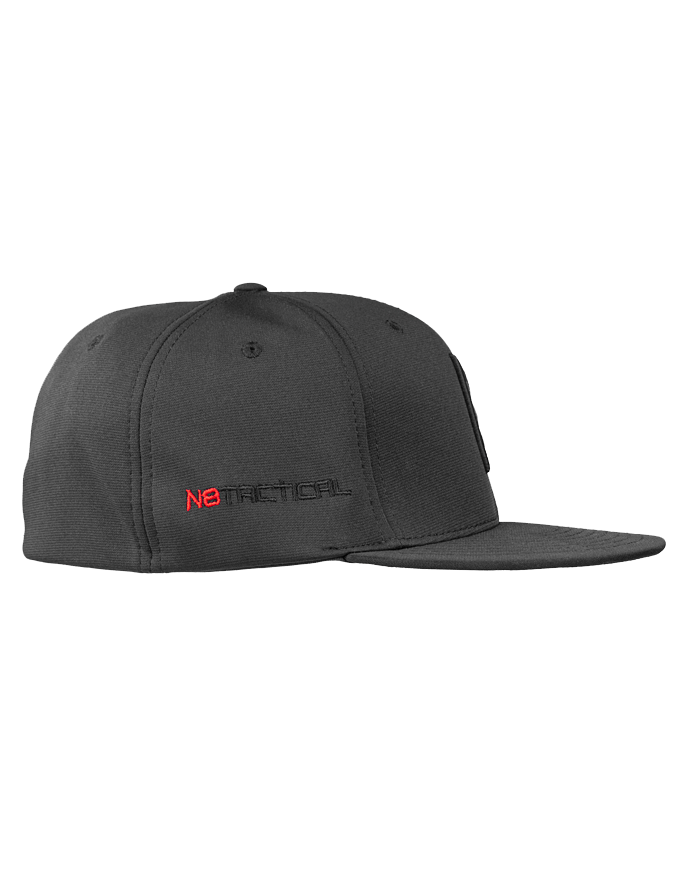 N8 Tatical Fitted Pitch Black Hat - Right Side With Second Logo